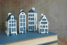 Blue delft canal houses. I think they were liquor bottles for an airline!