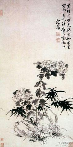 明 王彀祥《翠竹黄花图》--- 此图以墨彩写竹、菊二君。勾花点叶以成菊、浓墨撇写以成竹。师法文徵明,笔墨潇洒,如大匠运斤,随手成形,风姿绰约。画面清韵悠长,意境高远。上海博物馆藏。