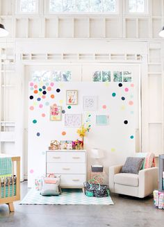 White Everything, Concrete Floors, Warehouse Set-Up, Colorful Polka Dots, Nursery Collection // dainty