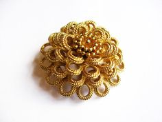 Vintage Golden Layered Monet Flower Brooch/Pin - Vintage Jewelry by FembyDesign