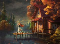Speedpaint #58 - Cottage by the lake digital painting. A girl is drawn to be playing a flute outside of a pretty little cottage by the lake. Birds are seen to form from her musical notes.