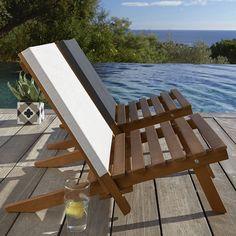 Chaise basse de plage acacia