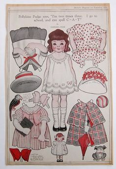 Vintage Pollykins Pudge Paper Dolls 1919 Deco Era Barbara Hale Cape School Dress | eBay