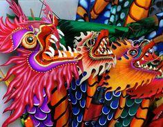 Dragon Kites Bali - Sue Rosoff Dragon Kite, Middle School Art, High School, Kite Making, Beginning Of Spring, Go Fly A Kite, Chinese Symbols, Study Inspiration, Chinese New Year