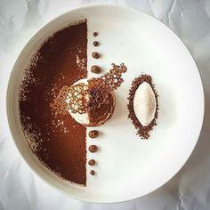 "By ""Tiramisu with espresso ice cream. Gourmet Desserts, Fancy Desserts, Plated Desserts, Gourmet Recipes, Dessert Recipes, Dessert Food, Gourmet Food Plating, Gourmet Foods, Tart Recipes"