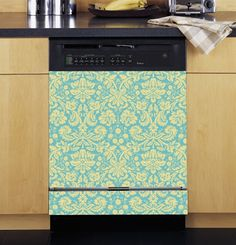 Damask Blue and Cream Dishwasher Cover. Cheap Kitchen Decorating Ideas.