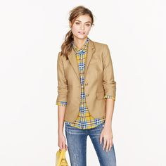 I think a casual work clothes should still look youthful and appropriate. I wear blazers even on a casual day but this school boy blazer is work appropriate and the cut is just right. I never had a khaki blazer and it works well with denim.