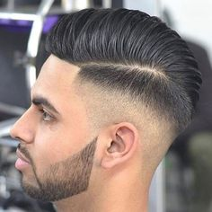High Taper Fade with Hard Part Comb Over Pomp