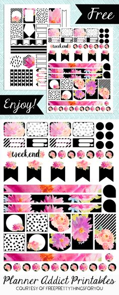 Free Planner Addict Printables- Fuchsia Chic - Free Pretty Things For You