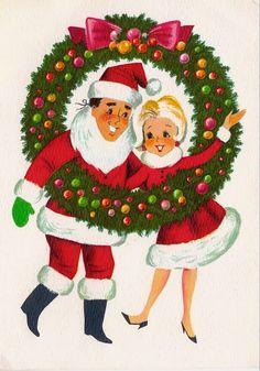 Vintage Christmas couple. Mid Century modern - Christmas wreath - Santa Claus