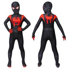 Spiderman: Into The Spider-Verse Miles Morales Jumpsuit For Kids Miles Morales, Ultimate Spiderman Season 1, Shenzhen, Action Figure Store, Ukraine, Cosplay Costumes, Halloween Costumes, Spider Gwen Cosplay, Kids Roller Skates