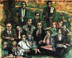 """"""" Personajes para un domingo en el campo """" Óleo sobre lienzo, 102 x 89 cm."""