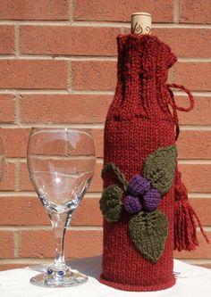#Free Pattern; Knit; Wine Cozy  ~~