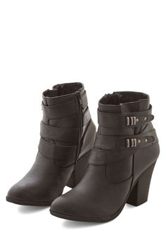 Three-Band Bill Bootie. Tonight, the only thing between the toes of these black booties and the stage is the bouncing bassline! #black #modcloth