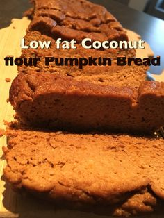 In a medium bowl whisk 1/2 c coconut flour, 1 T pumpkin pie spice, 1 tsp ground cinnamon, 1 tsp ground nutmeg, 2 tsp stevia, 1/2 tsp baking soda, 1/4 tsp baking powder & 1/4 tsp himalayan fine pink salt. In a larger bowl whisk 2 eggs, 4 egg whites, 1 c organic pumpkin puree, 1/2 c unsweetened cashew milk, 1/4 c unsweetened applesauce & 1 tsp vanilla extract. Slowly stir the dry ingredients into the wet using a rubber spatula. Do not overmix. Pour batter into a loaf pan sprayed with nonstick…