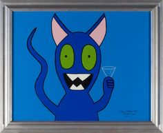 Blue Martini Cat is always open to a party. Drinks anyone? #popart, #catart, #martini