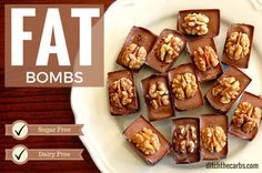 Chocolate Fat Bombs. Made with coconut oil, cocoa, walnuts and tahime. They are sugar free and dairy free. Paleo, primal, LCHF, Banting.   ditchthecarbs.com