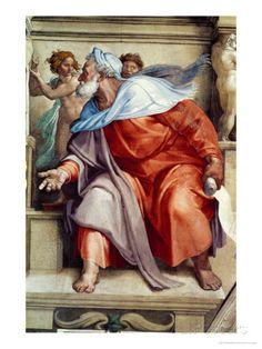 The Sistine Chapel; Ceiling Frescos after Restoration, the Prophet Ezekiel by: Michelangelo