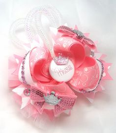 Princess Hair Bow Hair Accessories Girls, Toddler OTT pretty pink and white princess Boutique Birthday hair bow is loaded. She will look