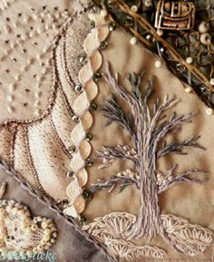 I ❤ crazy quilting, beading & embroidery . . . (translated) Promised tree, snow on it quite a bit, and under him once he settled down, nailed to the ground. ~By NinaAlekc