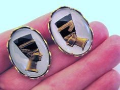 Vintage Domed Lucite Egyptian Motif Cufflinks Profile Heads Pharaoh Goldplate  #unbranded