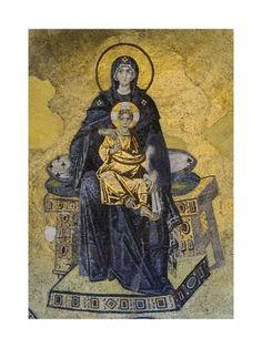 Byzantine Mother of God Enthroned, 867 Hagia Sophia, Istanbul, Turkiye Mosaic Madonna, Hagia Sophia, Sainte Sophie, Art Through The Ages, Byzantine Art, Byzantine Mosaics, Christ The King, Mary And Jesus, Renaissance Paintings