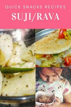 Suji has several health benefits. Read below to know 3 Quick Snack Recipes with Suji/Rawa/Semolina. Quick Snacks For Kids, Diy Snacks, Quick Recipes, Healthy Recipes, Kids Meals, Easy Meals, Indian Food Recipes, Ethnic Recipes, Healthy Grains