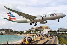 American Airlines Airbus A330-243 (registered N290AY) landing at St. Maarten