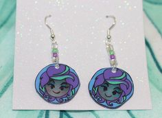 One of a kind Hand Painted Earrings. Inspired by The Haunted Mansion They'll look Spooktacular on You! Shrink Paper, Mimi Boutique, Madame Leota, Getting Wet, Craft Supplies, Hand Painted, Drop Earrings, Beads, Unique Jewelry