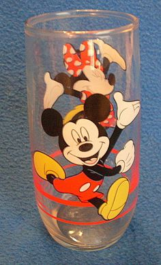Disney Glass With Mickey Mouse Minnie By