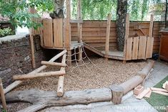 Climbing structure for smaller kids Playground Build & Design, – natural playground ideas Kids Outdoor Play, Outdoor Play Spaces, Kids Play Area, Backyard For Kids, Indoor Play, Backyard Play Spaces, Playground Design, Backyard Playground, Children Playground