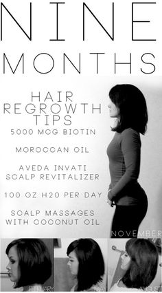 Nine Months: Hair Regrowth Tips wth 5000 MCG Biotin, Moraoccan Oil, Scalp Revitalizer, 100 ounces of water a day, Scalp Massages or Mask twice a week. Installments at 3 month, 6 months, 9 months and 12 months to be posted. Good information for those that want beautiful hair, regardless of how much it grows, which is wonderful side effect of good care.