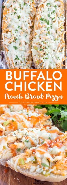 Buffalo Chicken Ranch French Bread Pizza - Layers of creamy Ranch, tender chicken, spicy buffalo sauce and crunchy celery are finished off with Mozzarella and blue cheeses. The perfect appetizers for game day or holiday parties! #ad via @yellowblissroad