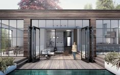 Black steel framed windows extension