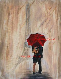 Eiffel Tower Paris LOVE Couple In Love Couple Painting Kissing Romantic Raining  Gift  Loving  IM YOURS Leslie Allen Fine Art via Etsy