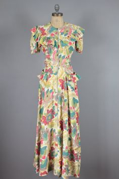 30s Floral Dress . Cotton Tropical Hawaiian . XS on Etsy, $365.65 AUD