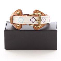ca3ec0d315e63 Wunderschönes Armband aus Leder von LOUIS VUITTON - Mit buntem Canvas  Muster!