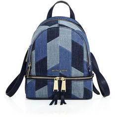 MICHAEL MICHAEL KORS Rhea Mosaic Patchwork Denim Backpack ($290) ❤ liked on Polyvore featuring bags, backpacks, apparel & accessories, blue, top handle bag, strap backpack, hardware bag, michael kors bags and backpacks bags