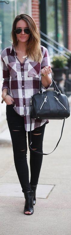 Plum Plaid / Fashion By Fashionably Kay