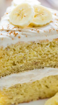 Supremely moist Banana Cake with Cinnamon Cream Cheese Frosting ~ Each bite is…
