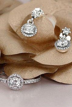 PANDORA Classic Elegance earrings. #PANDORATexas #PANDORAearrings Pandora Earrings, Pandora Jewelry, Timeless Elegance, Vintage Beauty, Diamond Earrings, Engagement Rings, Crystals, Elegant, Bracelets