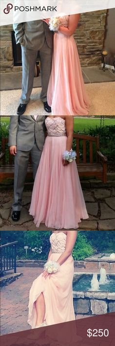 Sherri Hill prom dress. Baby pink. Worn once for prom. Size 4. Wore 5 inch heels and I'm 5'4 Sherri Hill Dresses Prom