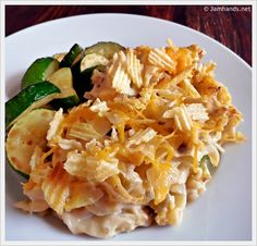 Cheesy Tuna Casserole with Crumbled Potato Chips at www.jamhands.net