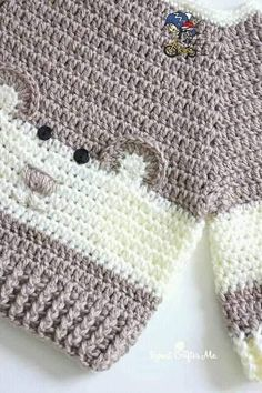 """Crochet Character Sweater Free Pattern Isn't it adorable? Crochet Character Sweater is definitely one of these. It's so """"Beary"""" Cute! This Baby Bear Crochet Character Sweater is hot off my hook! I couldn't resist the cuteness when I spotted this Crochet Baby Clothes Boy, Crochet For Boys, Crochet Baby Booties, Pull Crochet, Crochet Toys, Knit Crochet, Free Crochet, Crochet Crafts, Diy Crafts"""