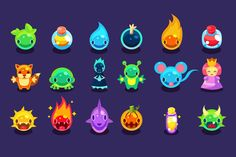 Cartoon funny monsters set by TopVectors on Creative Market
