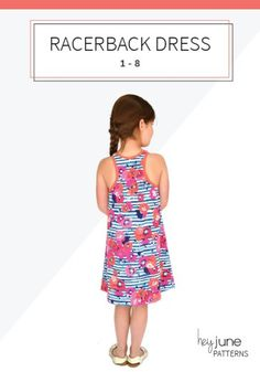 Knitting Patterns Dress The Racerback Dress: a FREE pattern from Hey June Handmade in sizes 12 months - 8 years Toddler Dress Patterns, Dress Making Patterns, Sewing Patterns For Kids, Sewing For Kids, Free Sewing, Sewing Tips, Knitting Patterns, Sewing Projects, Sundress Pattern