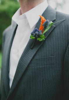 orange, blue, and green boutonniere // photo by Sarah McKenzie // http://ruffledblog.com/pablo-picasso-wedding-inspiration