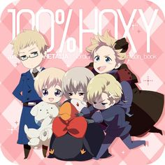Nordic 5 with Hanatamago and Mr. Puffin plushies!! I don't really get it, but soo cute~ X3