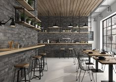 Discover our Ceramic Wall from Roca Tile USA: Indoor and outdoor ceramic tiles Brick Tile Wall, Brick Wall Kitchen, Black Brick Wall, Subway Tile Kitchen, Black Subway Tiles, Ceramic Subway Tile, Industrial Kitchen Design, Industrial Tile, Industrial Kitchens