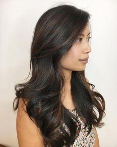 Subtle Brown Highlights For Black Hair